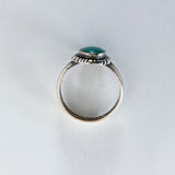 Vintage Scalloped Sterling Silver Aqua Agate Oval Stone Artsy Ring Profile