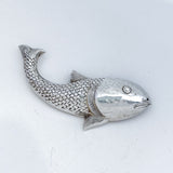 Vintage Sterling Silver Sculpted Swimming Fish Brooch Jewelry Front
