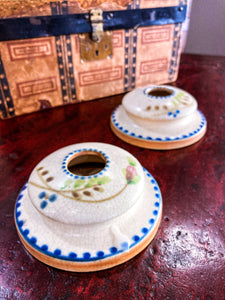 20th Century Antique Bonito Hand Painted Weller Ceramic Candlesticks