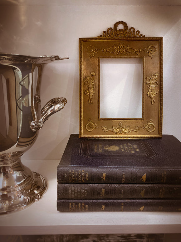Antique Empire Style Gilt Metal Picture Frame with Applied Decoration