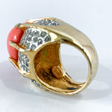 Vintage Kenneth Lane Rhinestone Coral Gold Costume Statement Ring Marking