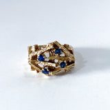 Vintage 14K Yellow Gold Blue Sapphire Egg Nest Wood Textured Art Ring Front