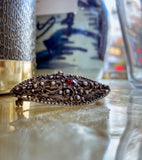 Vintage Sterling Silver Red Garnet Eye Oval Italian Gothic Brooch Pin