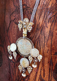 Vintage 1970s Antique Denmark Coins Silver Gold Toned Pendant Necklace