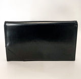 Classic Black Belgium Leather Suede Lined Medium Clutch Hand Bag Front