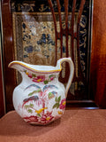 19th Century Antique Wedgwood Flowers Birds English Porcelain Pitcher
