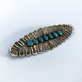 Vintage Sterling Silver Abstract Feather Turquoise Center Brooch Pin Slightly Turned 2