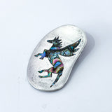 Vintage Mexico Sterling Silver Pegasus Horse Inlay Brooch Pendant Pin