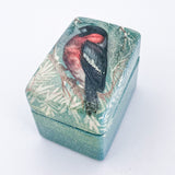 Hand Painted Russian Lacquer Bullfinch Winter Snow Bird Pill Ring Box Front At Angle