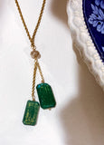 Red I Collection Green Shimmer Glass Pendant Gold Vintage Costume Necklace