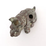 Vintage Cast Metal Seated Scottish Terrier Pen Holder Dog Figurine Top
