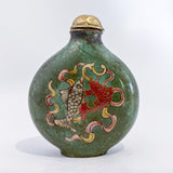 20th Century Feng Shui Koi Mystic Knot Chinese Green Enamel Snuff Bottle Koi Side