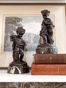 19th Century Pair of Bronze Neoclassical Child Figures on Marble After Etienne Falconnet