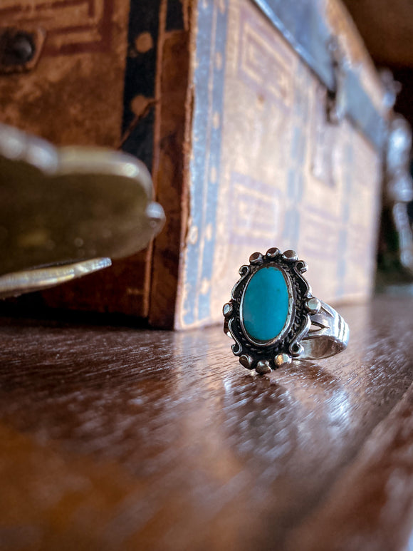 Vintage Sterling Silver Framed Oval Turquoise Stone Ring Size 5.5
