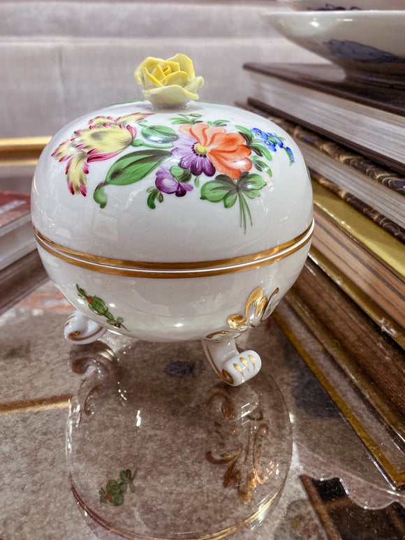 20th Century Herend Hand Painted Porcelain Trinket Dresser Box, Hungarian