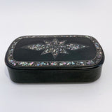 19th Century Antique Abalone Shell Inlay Papier-Mache English Snuff Box Front Slightly Above