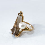 Vintage MCM 14K Yellow Gold Smokey Quartz Cultured Pearl Abstract Ring Pearl Side
