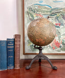 "An Antique 8"" Desktop World Globe, Iron Tripod Base, Early 20th Century"