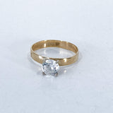 Classic 10K Yellow Gold 4 Prong Solitaire Sparkling CZ Engagement Ring Top