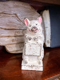 Antique The Wise Pig Thrifty Cast Iron Original Painted Piggy Bank