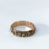 Vintage 14K Yellow Gold Wind Swirl Repousse Deeply Chased Band Ring Side