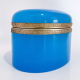 Vintage Italian Murano Turquoise Blue Opaline Glass Oval Trinket Box, 1960 Side
