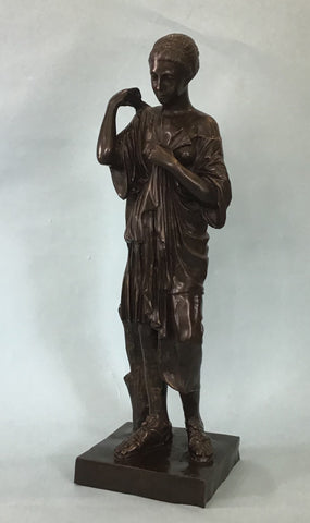 A Bronze Sculpture, Female in the Classical Grecian Style  20th Century