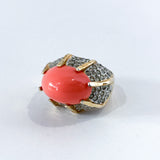 Vintage Kenneth Lane Rhinestone Coral Gold Costume Statement Ring Top