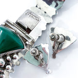 Vintage Mexico Sterling Silver Green Onyx Bracelet Screw Earrings Jewelry Set Close Up Marking