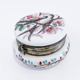 Antique 19th Century English Hand Tinted Swallow Apple Blossom Glass Ring Box Slightly Above Side