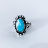 Vintage Sterling Silver Framed Oval Turquoise Stone Ring Size 5.5 Front