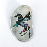 Vintage Mexico Sterling Silver Pegasus Horse Inlay Brooch Pendant Pin Top
