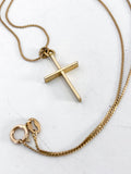 Vintage 14K Yellow Gold Chain Gold Christian Cross Pendant Necklace Close Up Pendant Flat
