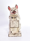 Antique The Wise Pig Thrifty Cast Iron Original Painted Piggy Bank Front