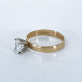 Classic 10K Yellow Gold 4 Prong Solitaire Sparkling CZ Engagement Ring Side