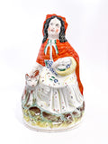 19th Century Antique Staffordshire Little Red Riding Hood Figure English Sculpture Front