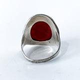 Vintage Sterling Silver Bamboo Carved Red Carnelian Large Oval Ring Back