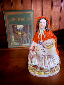 19th Century Antique Staffordshire Little Red Riding Hood Figure English Sculpture