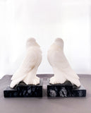Pair of 1920s Antique Italian Carved Marble Doves Bird Bookends Facing Inward