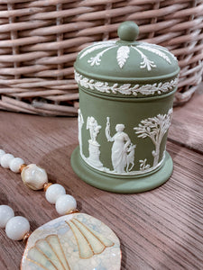 20th Century Wedgwood Classical Scene on Green Jasperware Jar, English