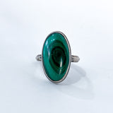 Vintage Domed Oval Swirling Rich Green Malachite Sterling Silver Ring Front