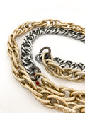 Red I Collection Vintage Repurposed Gold Silver Long Chain Necklace Close Up of Chain