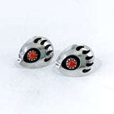 Sterling Silver Bear Paw Coral Bead Post Small Casual Earthy Earrings Front