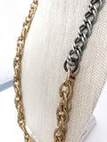 Red I Collection Vintage Repurposed Gold Silver Long Chain Necklace Close Up of Closure