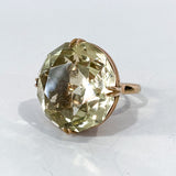 Stunning Vintage 14K Yellow Gold Large Citrine Statement Gemstone Ring Front