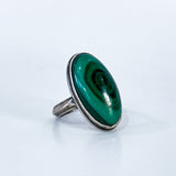 Vintage Domed Oval Swirling Rich Green Malachite Sterling Silver Ring Slightly Angled