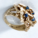Vintage 14K Yellow Gold Blue Sapphire Egg Nest Wood Textured Art Ring Marking