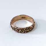 Vintage 14K Yellow Gold Wind Swirl Repousse Deeply Chased Band Ring 1