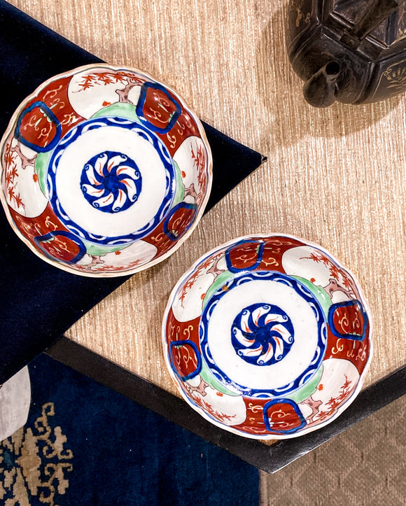 Pair of Antique Japanese Red Blue Imari Porcelain Bowls Meiji Period