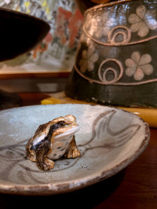 20th Century Antique Hirado Style Ceramic Japanese Toad Figurine